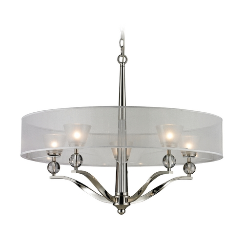 Elk Lighting Modern Chandelier with Silver Shade in Polished Nickel Finish 31292/5