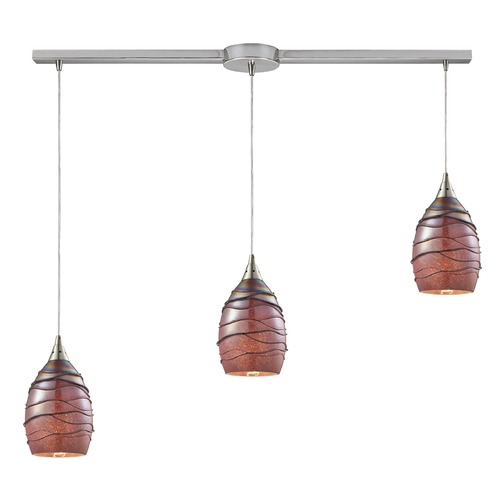 Elk Lighting Elk Lighting Vines Satin Nickel Multi-Light Pendant with Bowl / Dome Shade 31668/3L