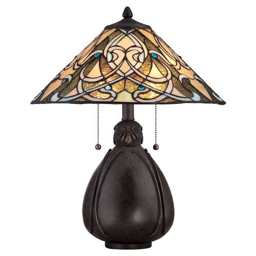 Quoizel Lighting Quoizel Tiffany Imperial Bronze Table Lamp with Conical Shade TF1846TIB