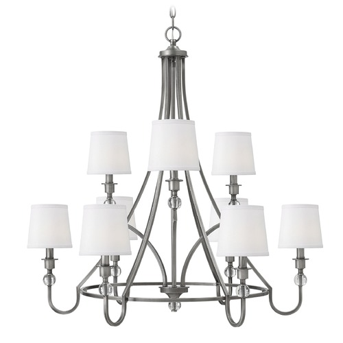 Hinkley Hinkley Morgan 2-Tier 9-Light Chandelier in Antique Nickel 4878AN
