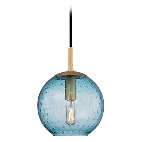 Hudson Valley Lighting Hudson Valley Lighting Rousseau Aged Brass Mini-Pendant Light with Globe Shade 2007-AGB-BL