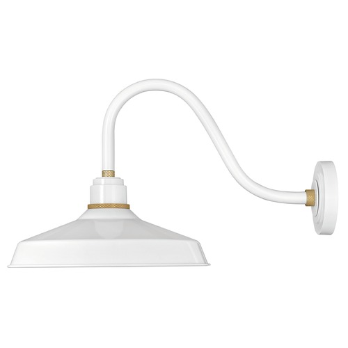 Hinkley Lighting Hinkley Lighting Foundry Gloss White / Brass Barn Light 10443GW