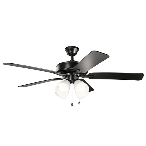 Kichler Lighting Basics Pro Premier Satin Black LED 52-Inch Ceiling Fan with Light 2700K 330016SBK