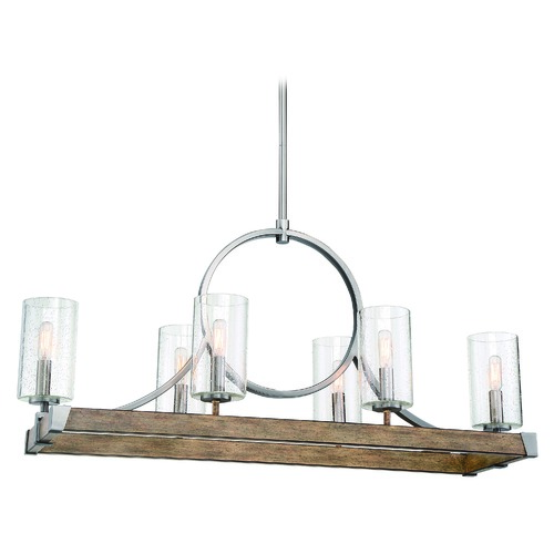Minka Lavery Minka Lavery Country Estates Wood and Brush Nickel Island Light with Cylindrical Shade 4016-280