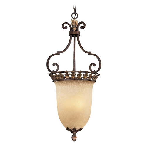 Metropolitan Lighting Pendant Light with Beige / Cream Glass in Golden Bronze Finish N6232-355