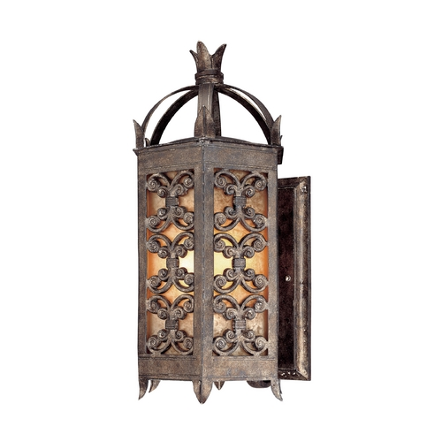Troy Lighting Outdoor Wall Light with Amber Glass in Charred Gold Finish BF9902CG-D