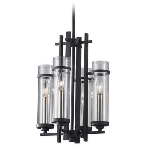 Feiss Lighting Modern Pendant Light with Clear Glass in Antique Forged Iron / Brushed Steel Finish F2627/4AF/BS