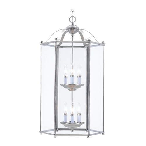 Sea Gull Lighting Pendant Light with Clear Glass in Brushed Nickel Finish 5233-962