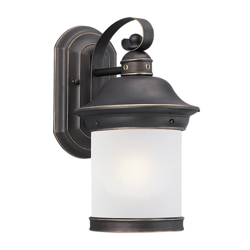 Sea Gull Lighting Outdoor Wall Light with White Glass in Antique Bronze Finish 89181BLE-71
