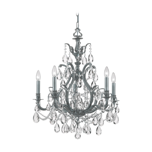 Crystorama Lighting Crystal Chandelier in Pewter Finish 5575-PW-CL-MWP