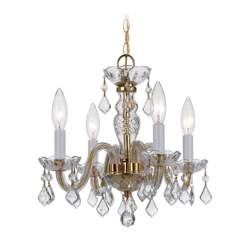 Crystorama Lighting Crystal Mini-Chandelier in Polished Brass Finish 1064-PB-CL-MWP