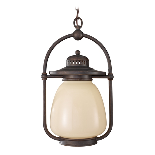 Feiss Lighting Outdoor Hanging Light with Beige / Cream Glass in Grecian Bronze Finish OL9311GBZ