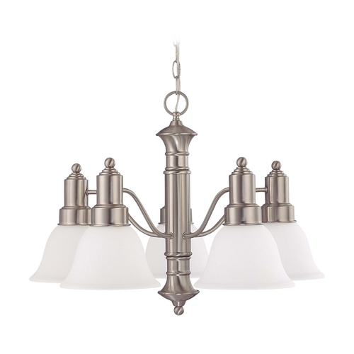 Nuvo Lighting Chandelier with White Glass in Brushed Nickel Finish 60/3242