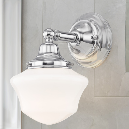 Design Classics Lighting Schoolhouse Sconce Chrome White Opal Glass 1 Light 6 Inch Width WC1-26 GC6