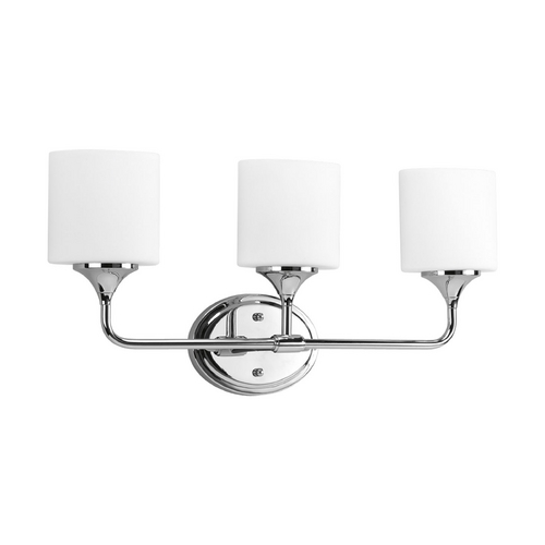 Progress Lighting Progress Bathroom Light with White Glass in Chrome Finish P2803-15