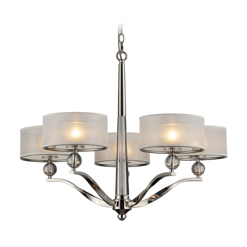 Elk Lighting Modern Chandelier with Silver Shades in Polished Nickel Finish 31293/5