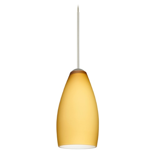 Besa Lighting Besa Lighting Karli Satin Nickel Mini-Pendant Light with Oblong Shade 1XT-7198VM-SN