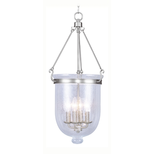 Livex Lighting Livex Lighting Jefferson Brushed Nickel Pendant Light with Bowl / Dome Shade 5085-91