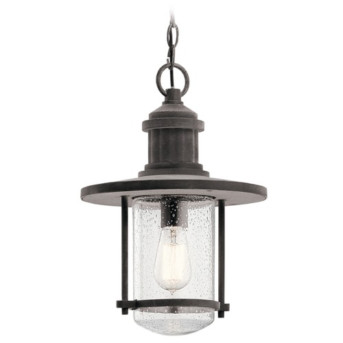 Kichler Lighting Seeded Glass Outdoor Hanging Light Zinc Kichler Lighting 49196WZC