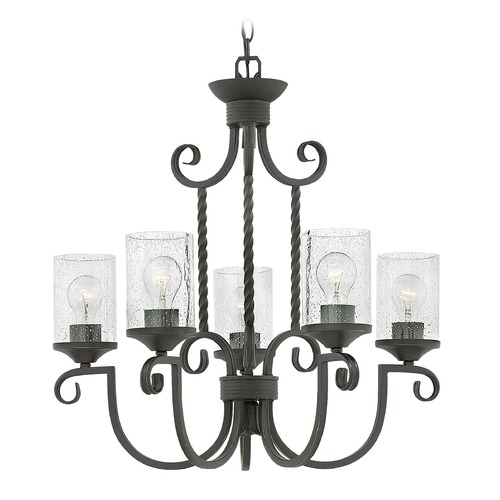 Hinkley Traditional Seeded Glass Black Chandelier 5Lt by Hinkley 4015OL-CL