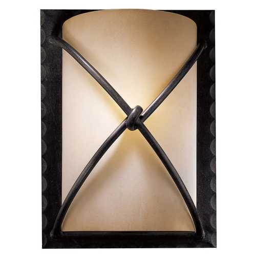 Minka Lavery Sconce Wall Light with Beige / Cream Glass in Aspen Bronze Finish 1972-138