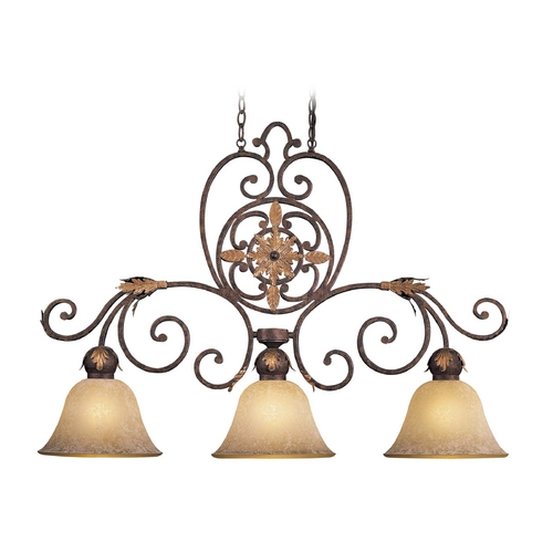 Metropolitan Lighting Island Light with Beige / Cream Glass in Golden Bronze Finish N6233-355
