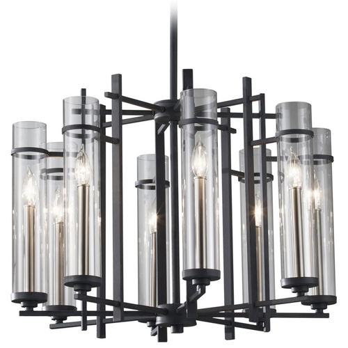Feiss Lighting Modern Chandelier with Clear Glass in Antique Forged Iron / Brushed Steel Finish F2628/8AF/BS
