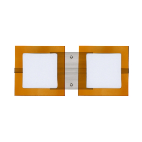 Besa Lighting Modern Bathroom Light with Amber Glass in Satin Nickel Finish 2WS-7735TG-SN