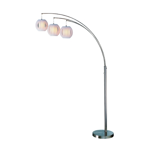Lite Source Lighting Modern Arc Lamp with White in Polished Steel Finish LSF-8871PS/WHT