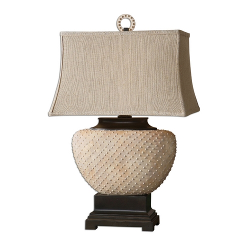 Uttermost Lighting Table Lamp with Beige / Cream Shade in Sandstone Finish 26533