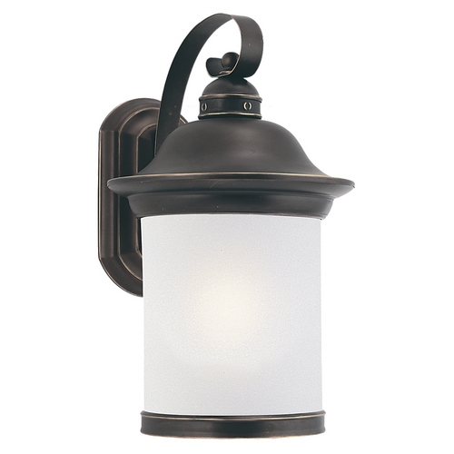 Sea Gull Lighting Outdoor Wall Light with White Glass in Antique Bronze Finish 89192BLE-71