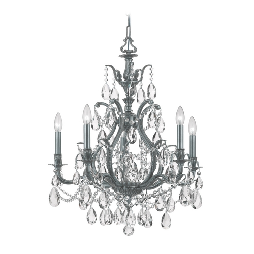 Crystorama Lighting Crystal Chandelier in Pewter Finish 5575-PW-CL-S