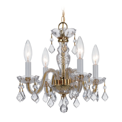 Crystorama Lighting Crystal Mini-Chandelier in Polished Brass Finish 1064-PB-CL-S