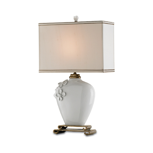 Currey and Company Lighting Modern Table Lamp with Beige / Cream Shade in White Finish 6995