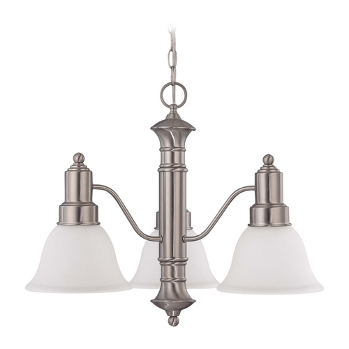 Nuvo Lighting Chandelier with White Glass in Brushed Nickel Finish 60/3243
