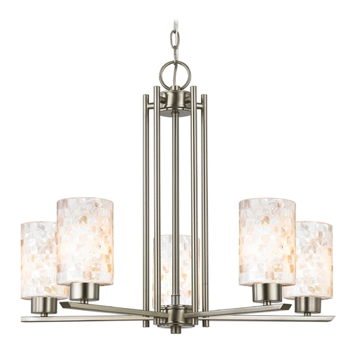 Design Classics Lighting Chandelier with Beige / Cream Glass in Satin Nickel Finish 1120-1-09 GL1026C