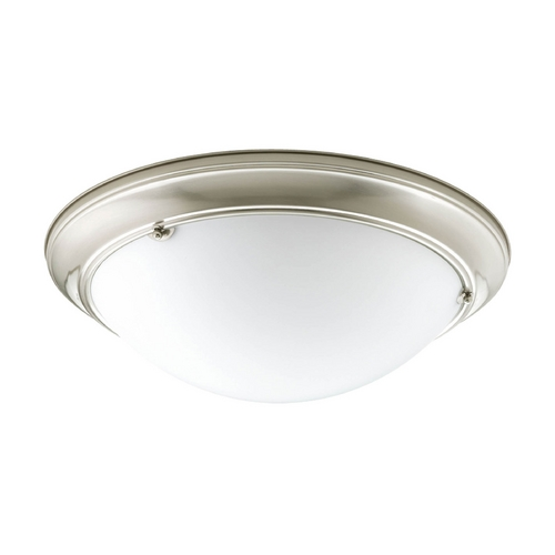 Progress Lighting Flushmount Light with White Glass in Brushed Nickel Finish P3564-09EB