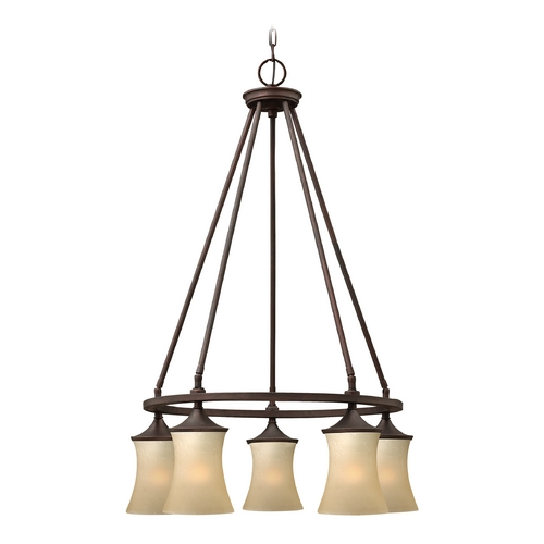 Hinkley Lighting Chandelier with Amber Glass in Victorian Bronze Finish 4505VZ
