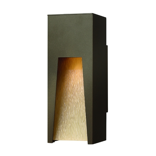 Hinkley Lighting Modern Outdoor Wall Light with Amber Glass in Bronze Finish 1760BZ