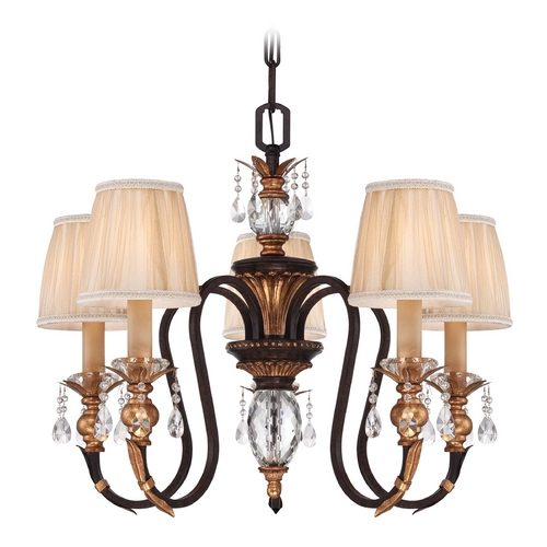 Metropolitan Lighting Bronze Crystal Chandelier with Pleated Shades N6645-258B