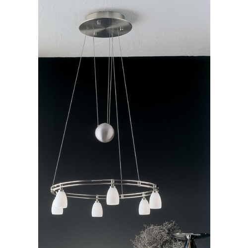 Holtkoetter Lighting Holtkoetter Modern Low Voltage Pendant Light with White Glass in Satin Nickel Finish 5556 SN G5000