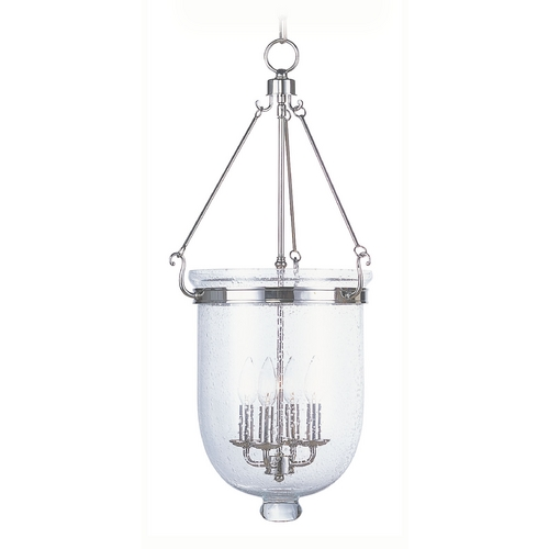 Livex Lighting Livex Lighting Jefferson Polished Nickel Pendant Light with Bowl / Dome Shade 5085-35