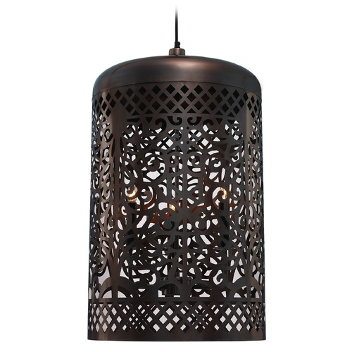 Kenroy Home Lighting Kenroy Home Lighting Creole Antique Copper Pendant Light with Cylindrical Shade 93441AC