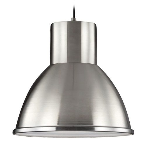 Sea Gull Lighting Sea Gull Lighting Division Street Brushed Nickel Pendant Light with Bowl / Dome Shade 6517401BLE-962