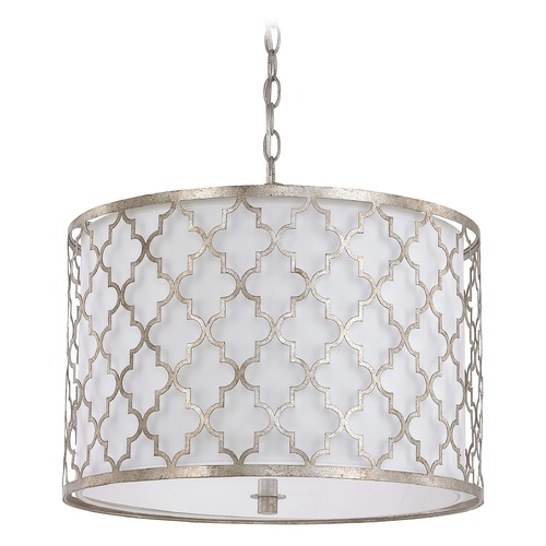 Capital Lighting Capital Lighting Ellis Antique Silver Pendant Light with Drum Shade 4545AS-582