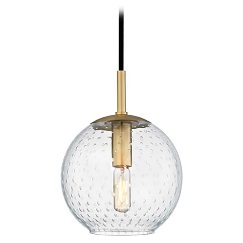 Hudson Valley Lighting Hudson Valley Lighting Rousseau Aged Brass Mini-Pendant Light with Globe Shade 2007-AGB-CL