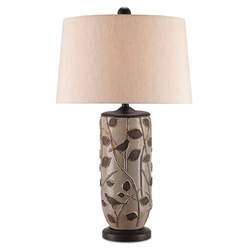 Currey and Company Lighting Currey and Company Woodcliffe Gray/brown/distressed Brown Table Lamp with Empire Shade 6358