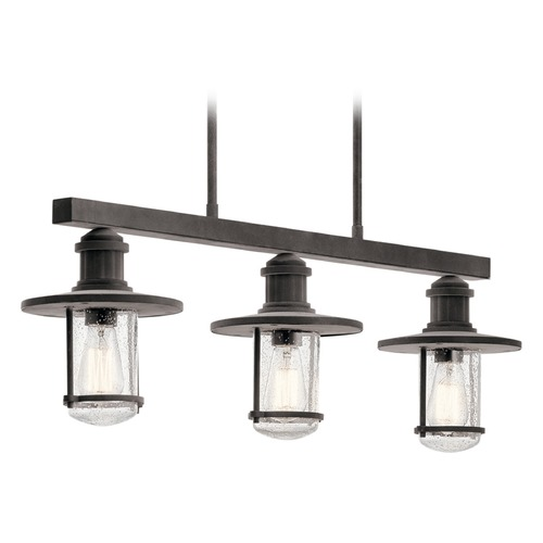 Kichler Lighting Seeded Glass Outdoor Hanging Light Zinc Kichler Lighting 49197WZC