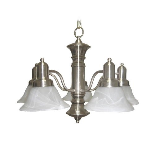 Maxim Lighting Chandelier with White Glass in Satin Nickel Finish 20325MRSN