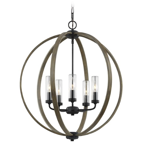 Feiss Lighting Feiss Lighting Allier Weathered Oak Wood / Antique Forged Iron Outdoor Chandelier OLF3294/5WOW/AF
